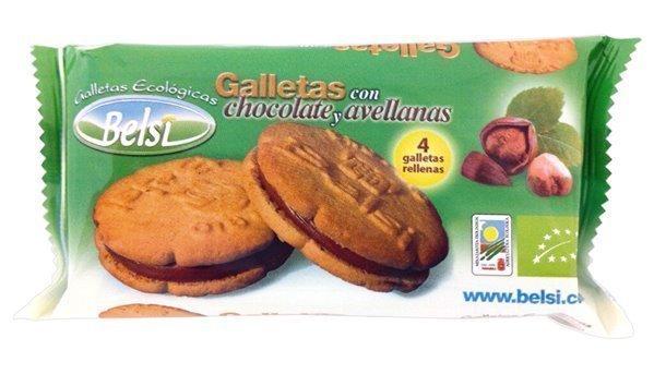 Galletas rellenas con chocolate y avellanas