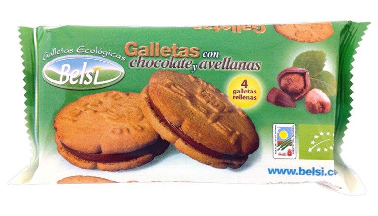 Galletas rellenas con chocolate y avellanas, 70 gr