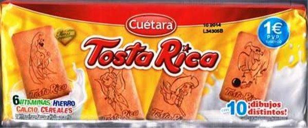 Galletas Tosta Rica - pack de 32 galletas (6 vitaminas, hierro, calcio y cereales)