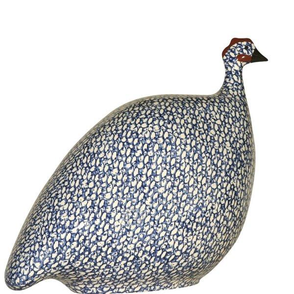 Gallina de Guinea en cerámica blanco-azul PM