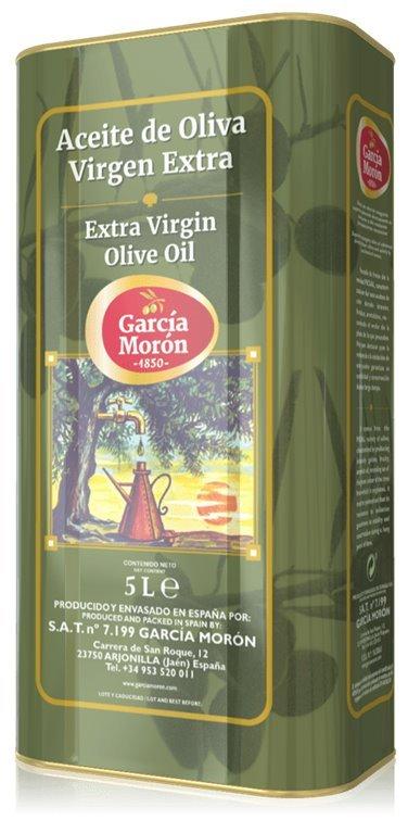 Garcia Morón. Aceite de Oliva Picual. 4 Latas de 5 Litros