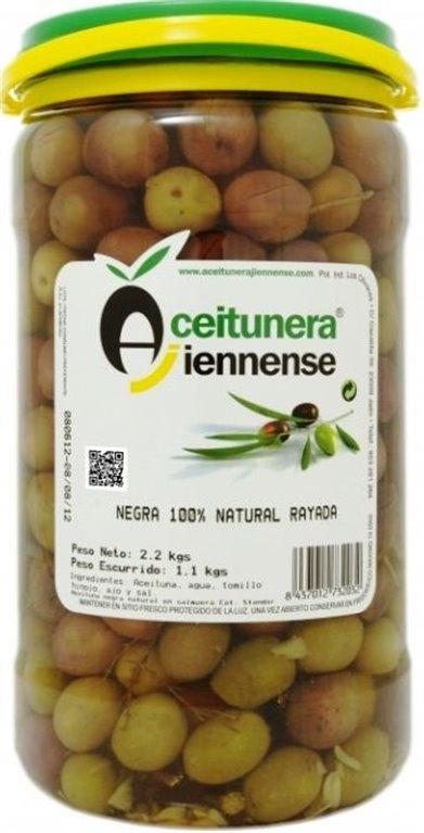 Aceitunas negras naturales rajadas. 1.2 Kg