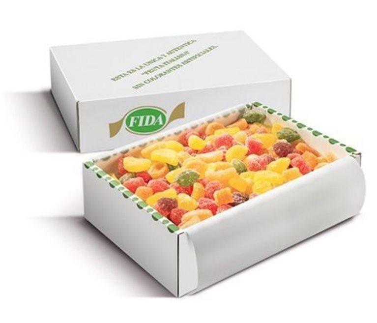 Golosinas de fruta natural, hechas en Italia, bandeja de 250 gramos., 1 ud