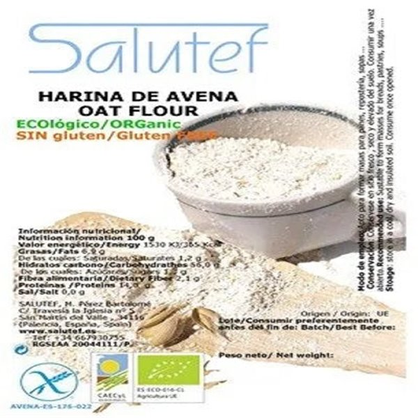Harina de Avena Integral Sin Gluten Bio 10kg