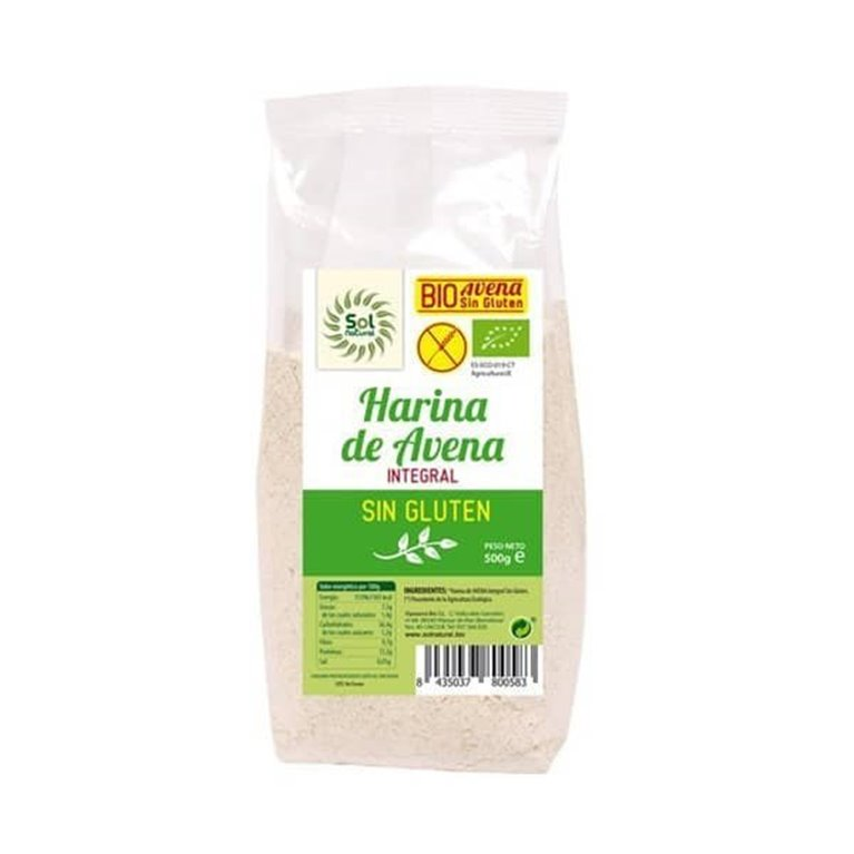 Harina de avena Integral sin gluten BIO Solnatural 500g