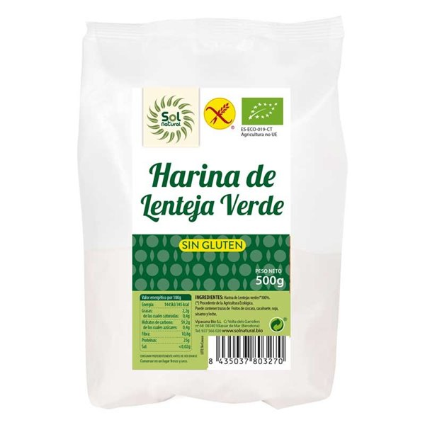 Harina de lenteja verde sin gluten 500g