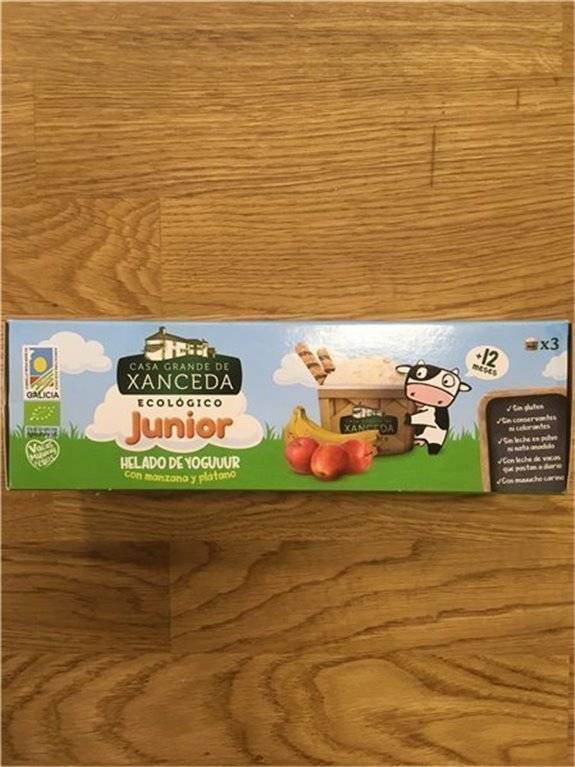 Helado de yogur junior con manzana y plátano