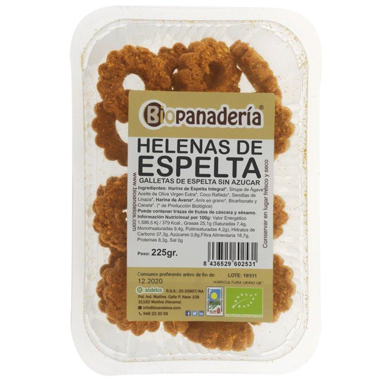 Helenas de Espelta Integral sin azúcar y sin huevo 225 g Galletas Ecológicas Artesanas, 1 ud