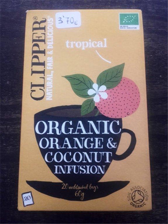 Infusión ecológica de naranja y coco Clipper 20 bolsas, 1 ud