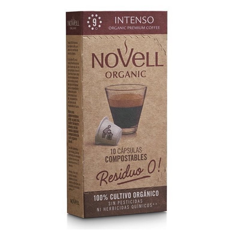 INTENSO - Cápsulas de café orgánico, compostables y compatibles Nespresso® (10 cápsulas), 10 ud