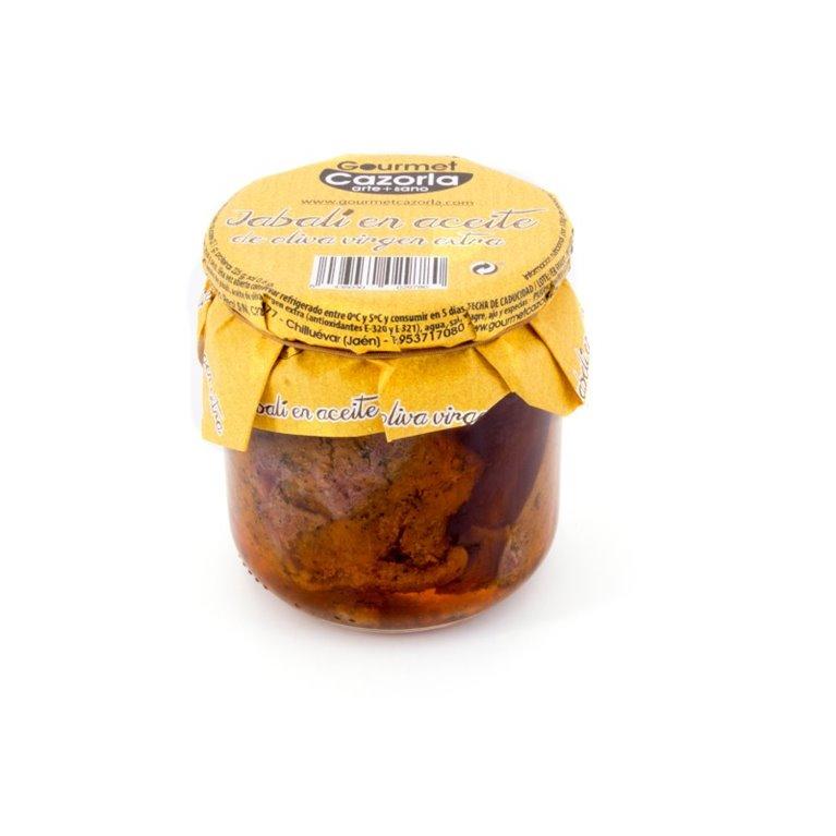 Wild boar in extra virgin olive oil. Box of 9 x 300 gr.