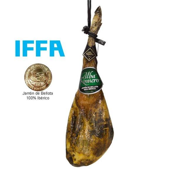 Jamón 100% Raza Ibérico de Bellota Alba Romero, producto elaborado en el municipio de Jabugo