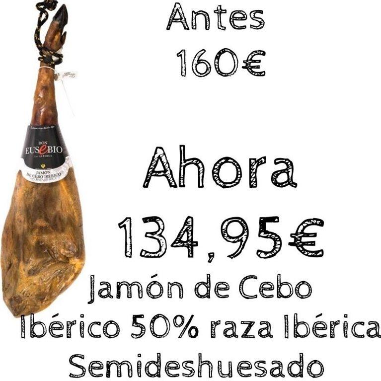 Jamón de Cebo Ibérico 50% raza ibérica Semideshuesado Don Eusebio Salamanca