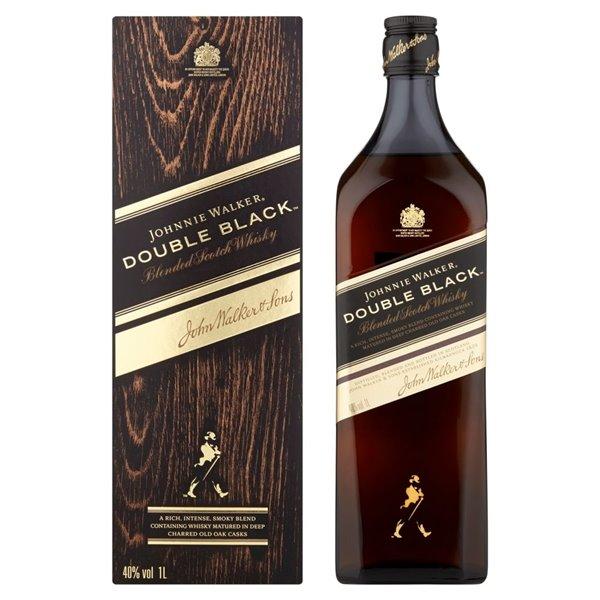 JOHNNIE WALKER DOUBLE BLACK CAJA MARRON 1,00 LITRO 40º