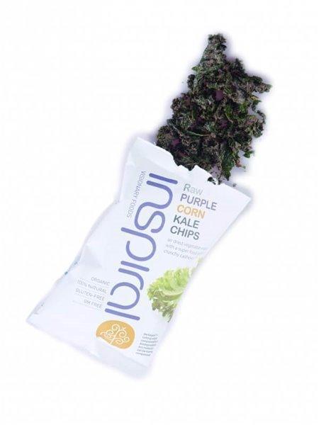 Kale chips con maíz púrpura