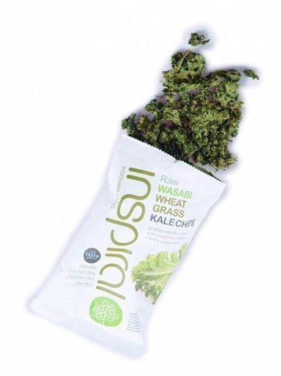 Kale chips con wasabi y hierba de trigo, 30 gr