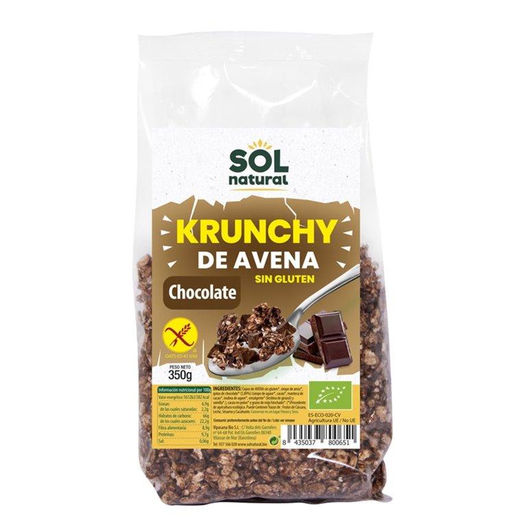 Krunchy de Avena con Chocolate Sin Gluten Bio 350g, 1 ud
