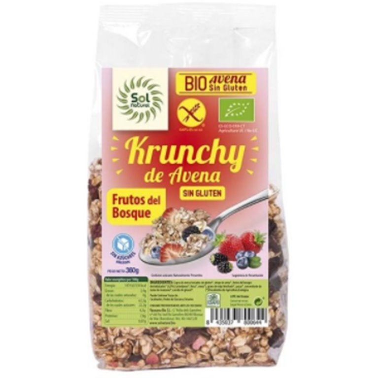 Krunchy de Avena con Frutos del Bosque Sin Gluten Bio 350g, 1 ud