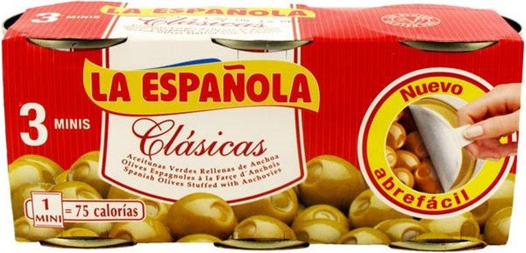 La Española - Pack de 3 latas de aceitunas clásicas (rellenas de anchoas, 50 gr cada lata), 1 ud