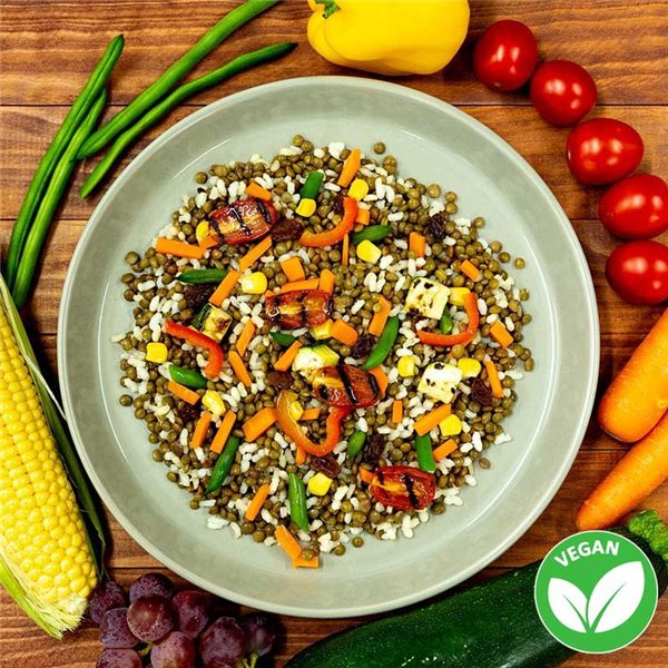 Lentejas con arroz integral y verduritas