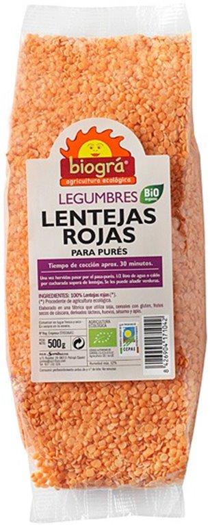 Lentejas Rojas (Para Purés) Bio 500g, 1 ud