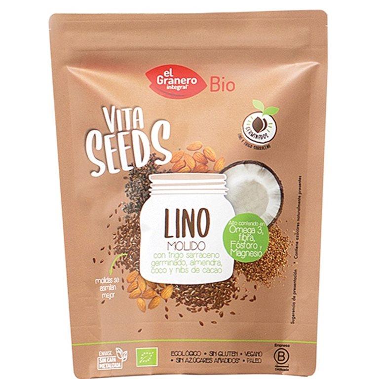 Lino Molido con Trigo Sarraceno, Almendras, Coco y Nibs de Cacao Bio 200g
