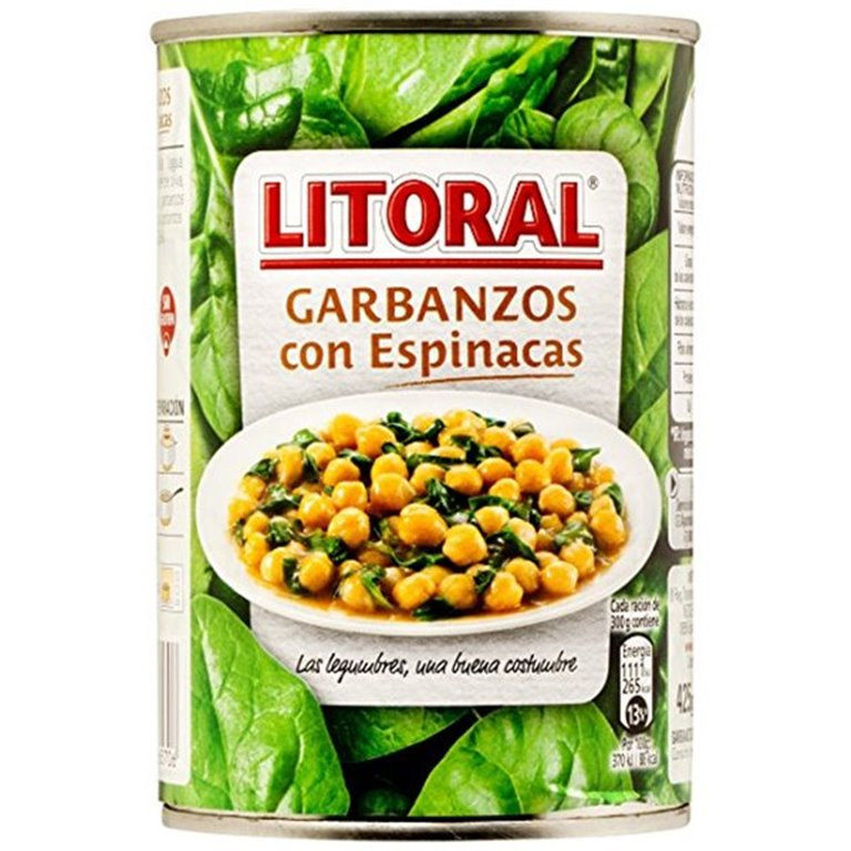 Litoral - Garbanzos con espinacas (100% natural, 425 gr)