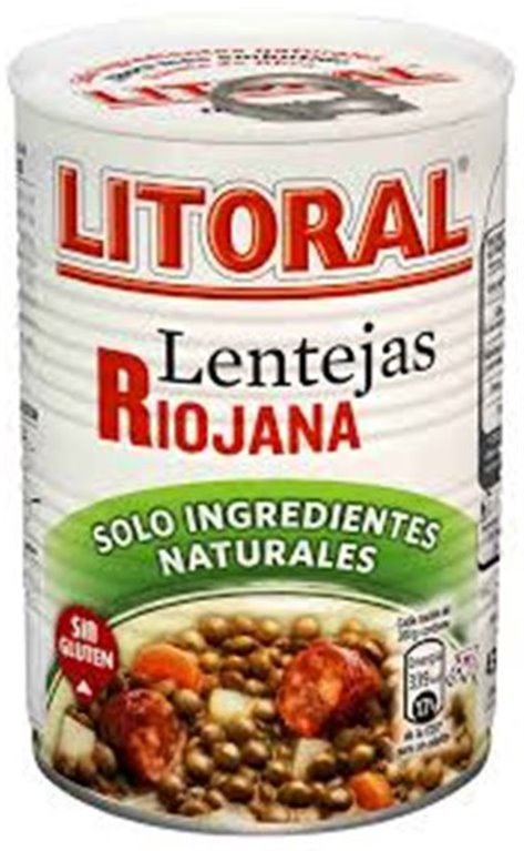 Litoral - Lentejas Riojana (lata de 440 gr, solo ingredientes naturales), 1 ud
