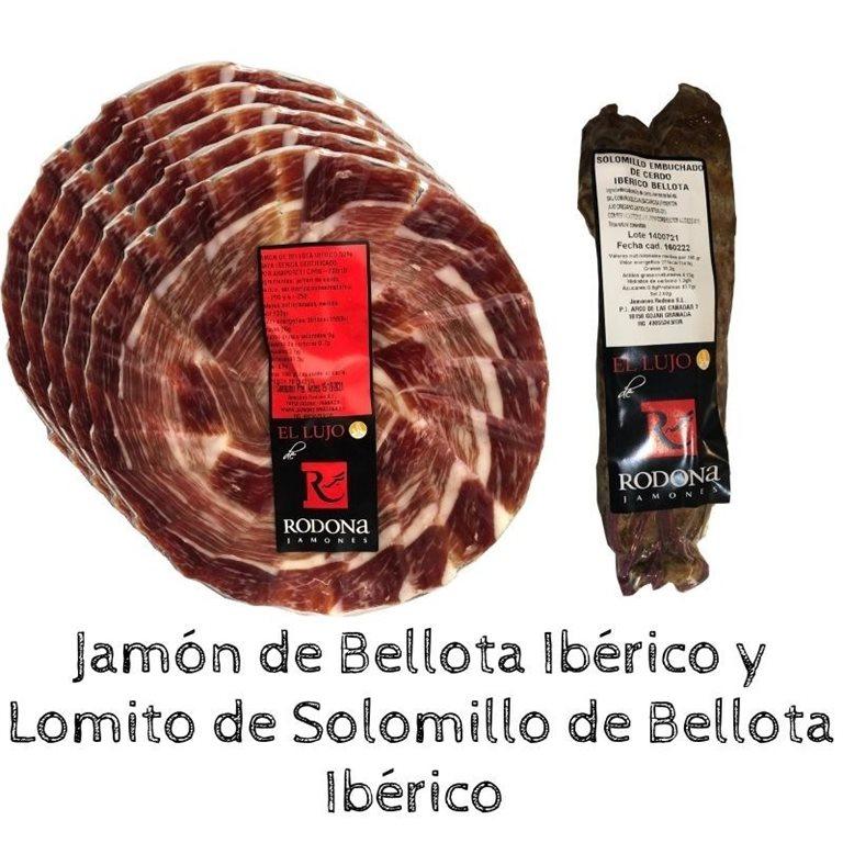 Iberian Acorn-fed Sirloin Loin + 5 packets of Acorn-fed Ham 50% Iberian breed sliced by knife