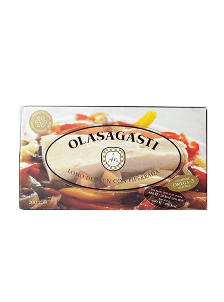 Lomo de atún con piperrada Olasagasti