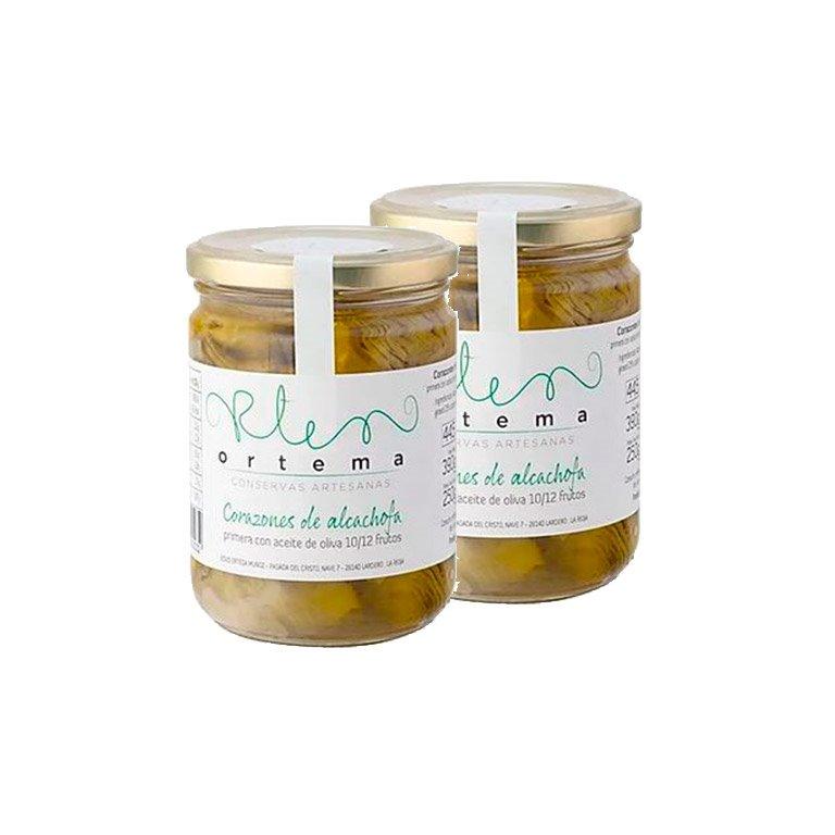 Lote 2 ud. de Corazones de alcachofa primera con aceite de oliva 10/12