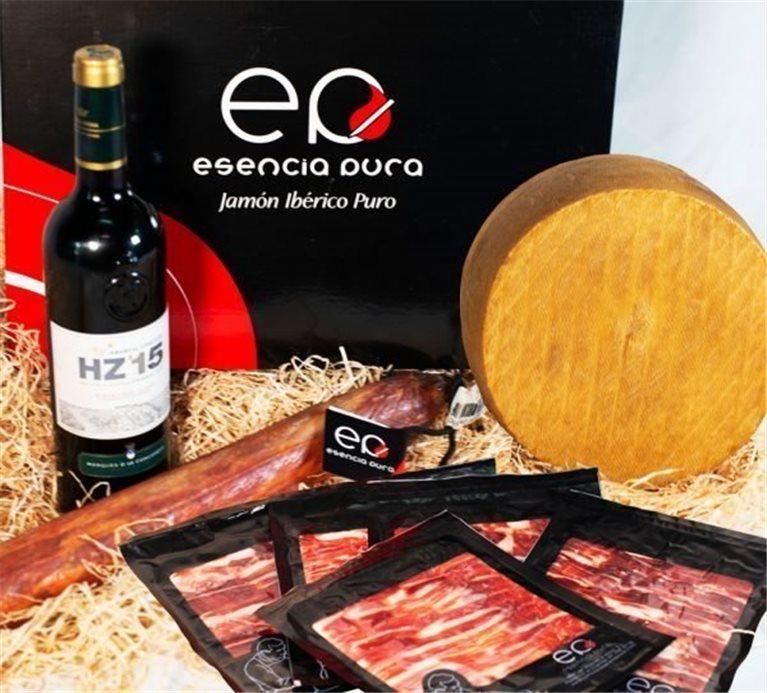 Lote de Jamón ibérico de Bellota (500 gramos) cortado a cuchillo, un lomo de bellota, queso artesano y Ribera del Duero