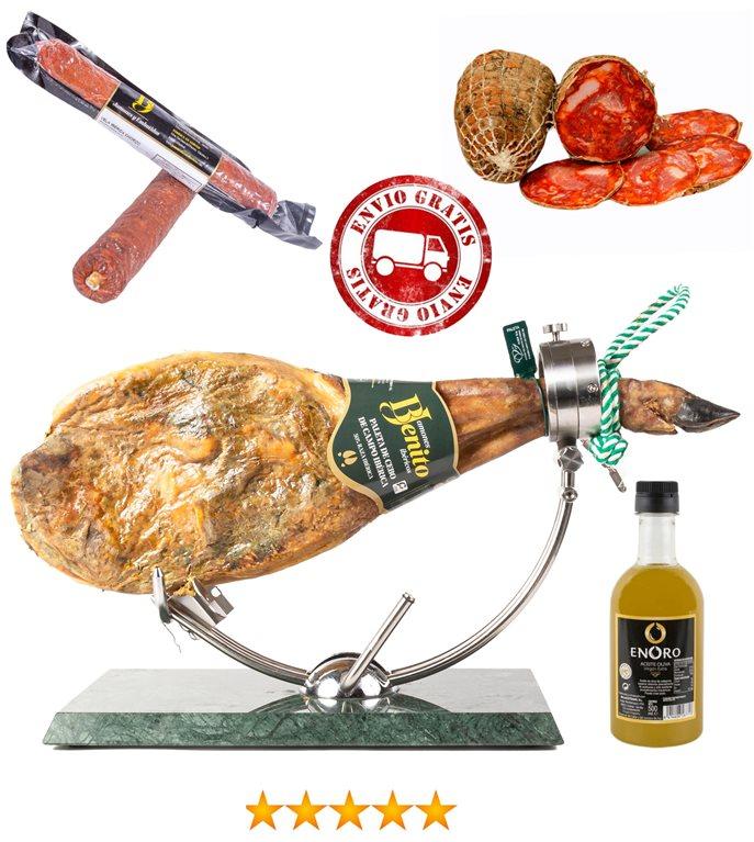 Batch of country ham shoulder + chorizo bellota vela + salchichón bellota vela + half morcón + bottle of olive oil 500ml