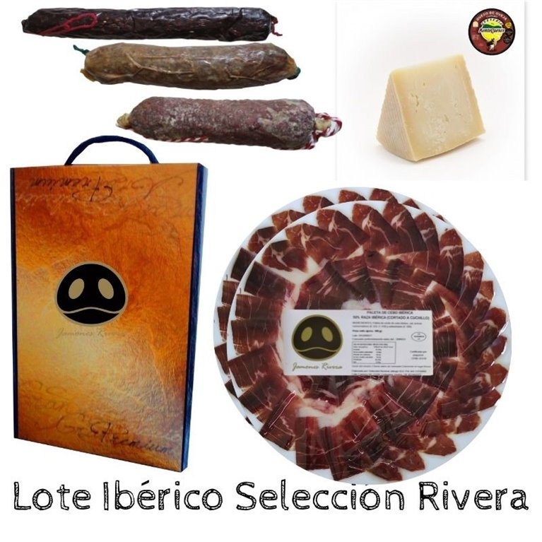 Lot 100% Iberian Rivera acorn-fed ham shoulder + sausages + cheese