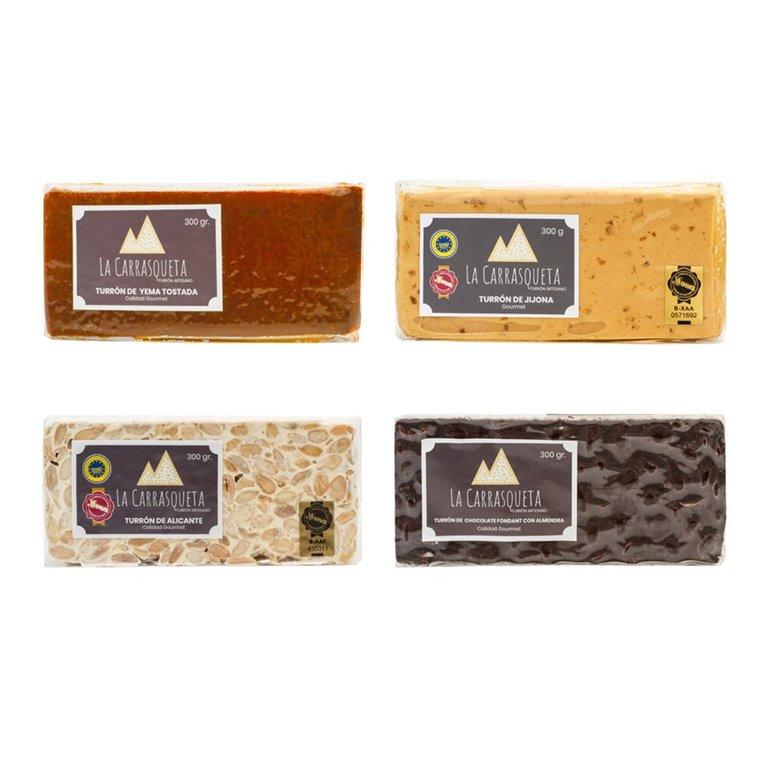 Lote turrones Clásicos (Jijona 70%+Alicante+Yema Tostada+Chocolate)
