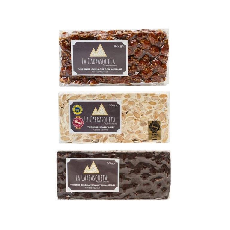 Lote turrones duros (Alicante + Guirlache + Chocolate)