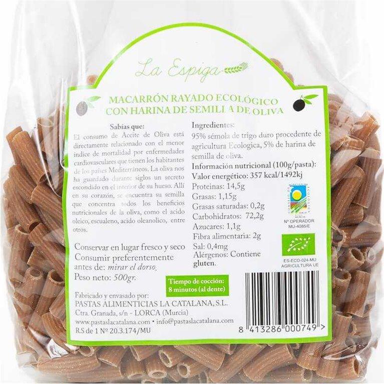 Macarrón rayado BIO con harina de semilla de oliva - 500 g - La Espiga