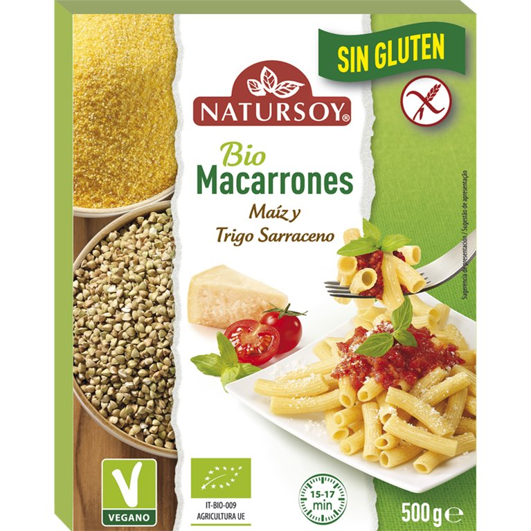 Macarrones de Maíz y Trigo Sarracena Sin Gluten Bio 500g, 1 ud