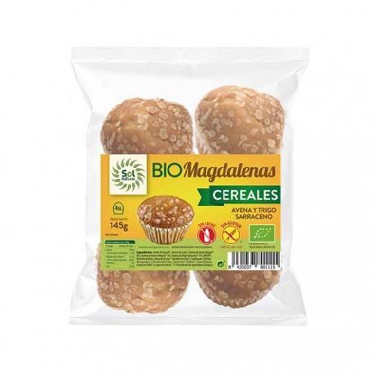 Magdalenas de Cereales con Avena y Trigo Sarraceno Sin Gluten Bio 145g