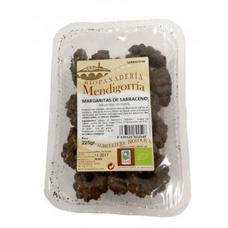 Margaritas de Sarraceno (Alforfón) sin azúcar y sin huevo 225 g Galletas Ecológicas Artesanas, 1 ud