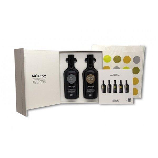 Melgarejo Pack Regalo de 2 botellas de 500 ml.  Picual y Composición Premium.