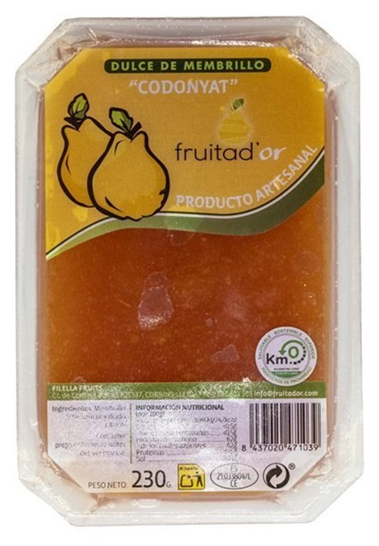 Membrillo Artesano Fruita D'or, caja de 6 unidades (230gr), 6 ud