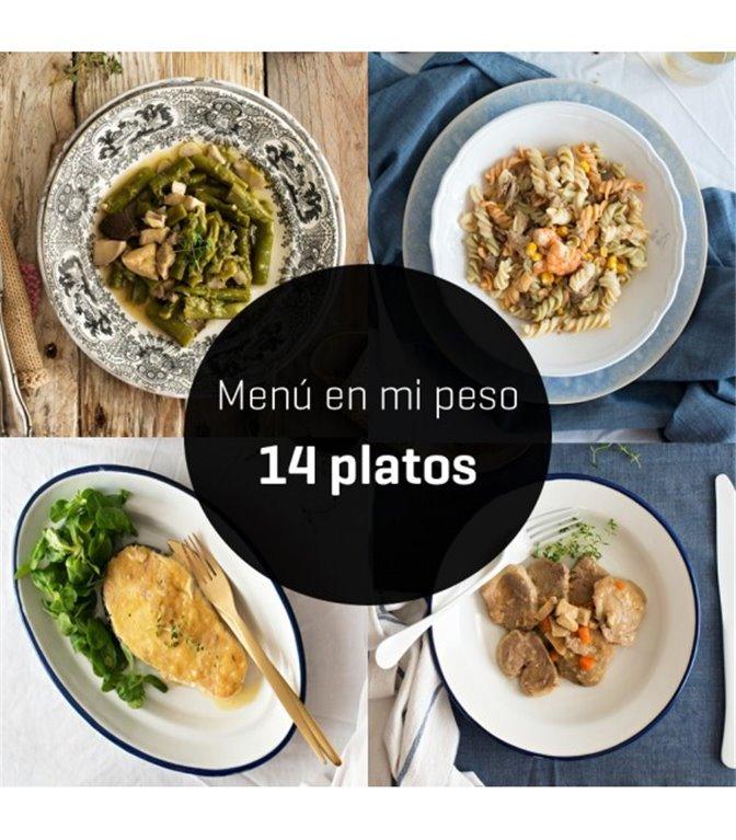 """Menú """"en mi peso"""" 14 platos, 1 ud"""