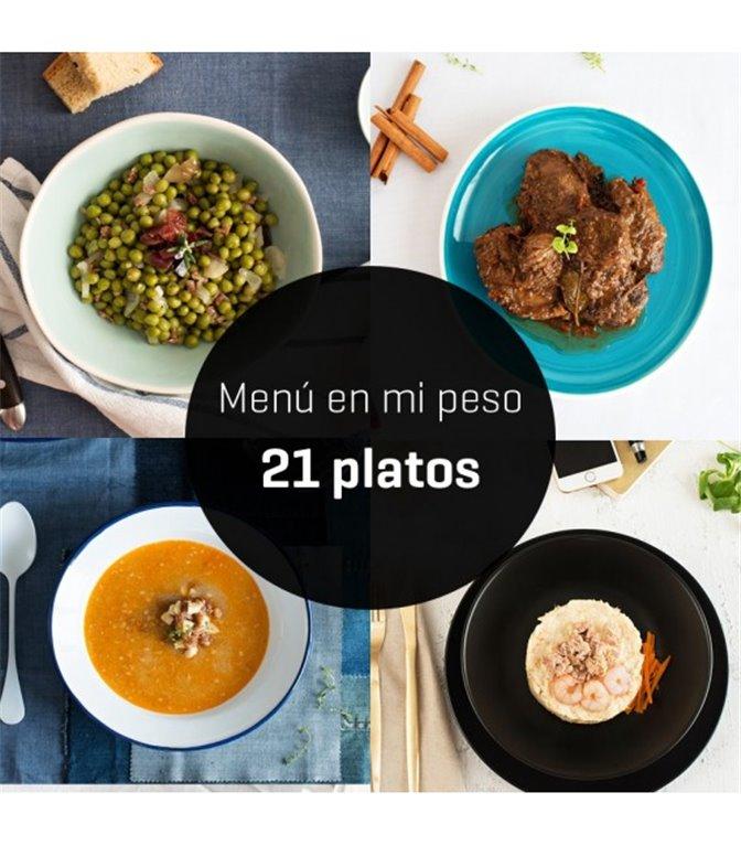 """Menú """"en mi peso"""" 21 platos + 1 postre, 1 ud"""