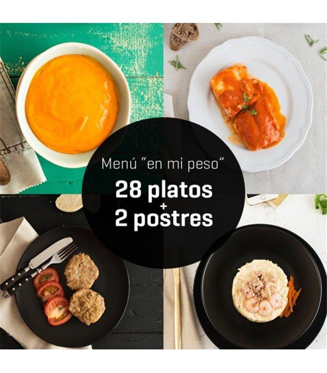 """Menú """"en mi peso"""" 28 platos + 2 postres, 1 ud"""