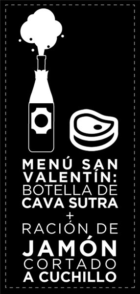 Menú San Valentín: Botella de Cava Sutra + Ración de Jamón Cortado a Cuchillo