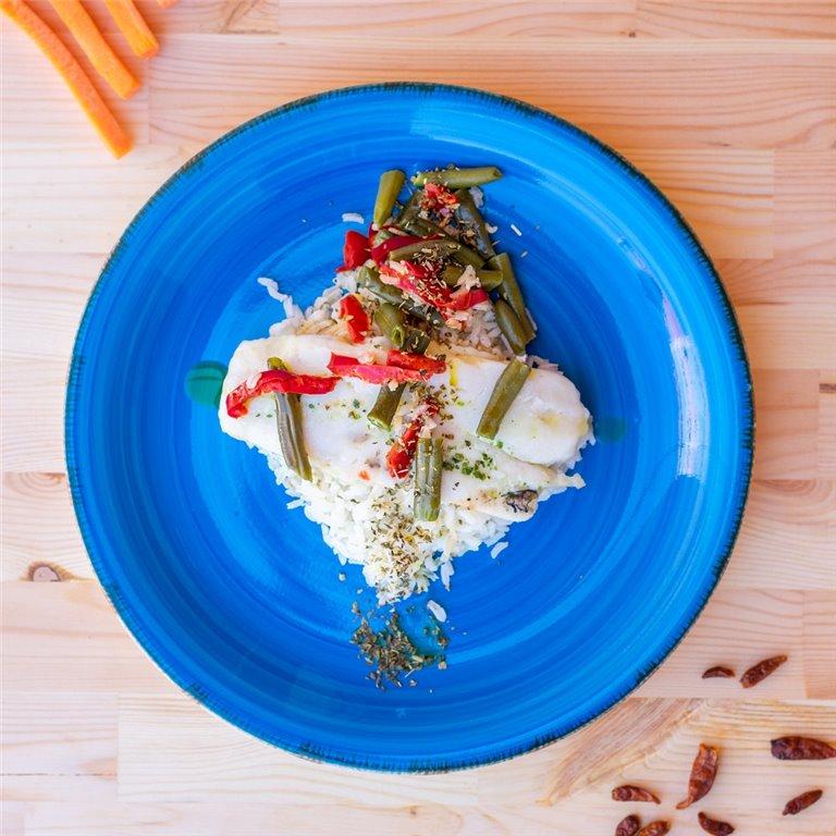 Merluza con arroz y verduras, 1 ud