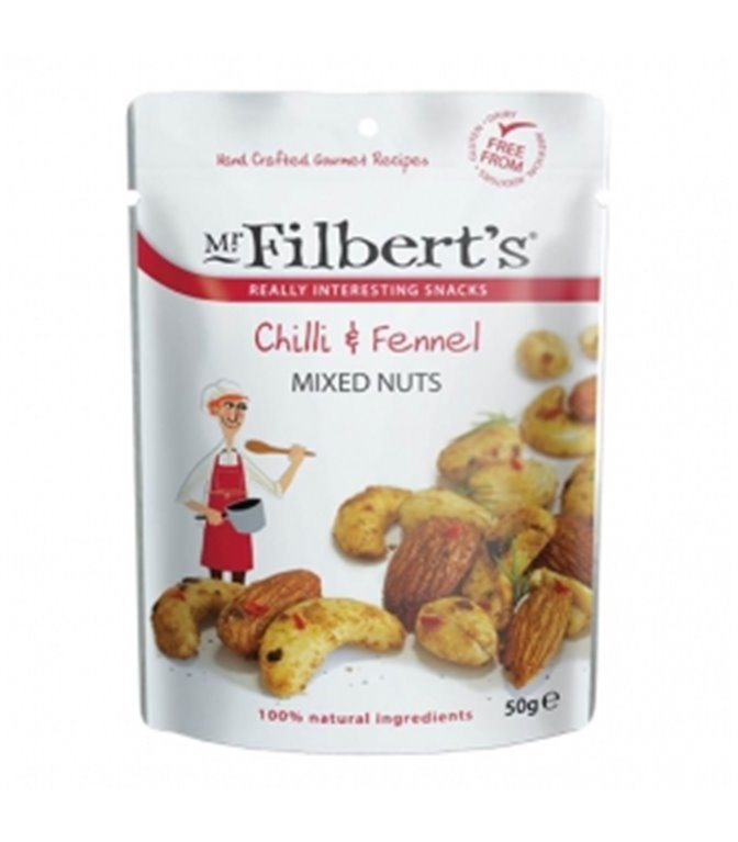 Mezcla de Frutos Secos con Chili e Hinojo 50gr. Mr. Filber'ts Snacks. 12ud
