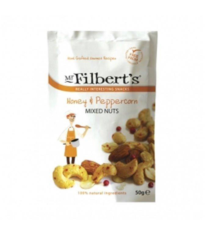 Mezcla de Frutos Secos con Miel y Pimienta 50gr. Mr. Filber'ts Snacks. 12ud