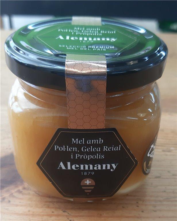 Miel con polen, jalea real y propóleos